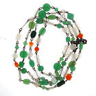 Vintage Green Glass Bead Wire Art Necklace Long Strand 50