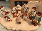 CLEO TEISSEDRE 11 pc NATIVITY SET CRECHE 1986  POTTERY  SOUTHWEST SIGNED
