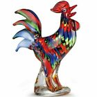 11 1 2 Beautiful Handcrafted Rainbow Art Glass Rooster Figurine MSRP 142