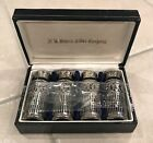 JB Rogers Silver Company boxed set cobalt blue glass 4 salt  pepper shakers