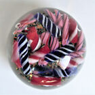 Antique MILLEFIORI SCRAMBLE Cane PAPERWEIGHT Spiral Twist BLUE RED Art GLass Vtg
