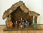 Vintage Italian Nativity Set Wood Creche 8 Figures Christmas Decor