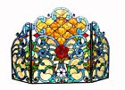 Fireplace Screen 3 Section Stained Glass 44 Long x 28 High Tiffany Style