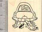 Just Married Rubber Stamp Honeymoon Car with Shoes and Cans J21616 WM