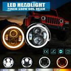 2x 7 LED Headlight Halo Angel Eye DRL Hi Lo DOT Lamp for Jeep Wrangler JK TJ CJ