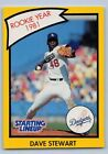 1990  DAVE STEWART - Kenner Starting Lineup Card -LOS ANGELES DODGERS - (Yellow)