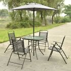 6 pcs Garden Pool Patio Square Table Folding Chairs Furniture Set with Umbrella