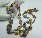 Vintage MILLEFIORI Venetian Bead Necklace Assorted Size Beads
