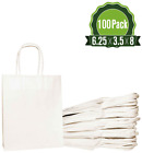White Kraft Paper Gift Bags Bulk With Handles 100Pc Ideal For Shopping Packaging