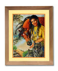 Native Indian Girl Horse And Wolf Animal Wall Picture Honey Framed Art Print