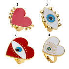 Heart Shape Enamel Evil Eye Open Band Women Rings Exaggerated Fashion Jewelry