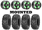 Kit 4 ITP Mud Lite II 2 Tires 28x9-14/28x11-14 on Sedona Rukus Green Wheels IRS