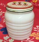 Vintage Fire King Ivory Ribbed Grease Jar Red Yellow Metal Tulip Lid