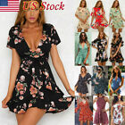 Women Holiday Sleeveless Lady Slim Short Maxi Summer Print Beach Mini Dress USA