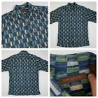 TORI RICHARD cotton lawn leaf print pattern shirt sz medium usa green blue