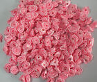 50pcs Pink 12mm flower bud Satin Ribbon Rose Flower DIY Craft Wedding Appliques