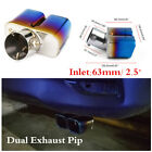 63mm Bent Universal Car Stainless Steel Exhaust Tail Pipes Muffler Tip Durable