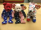 LOT of 3-TY Beanie Babies - Lefty 2004,Spangle 1999, Liberty 2001