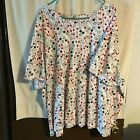LIZ  ME RED WHITE  BLUE TOP SIZE 5X SHORT SLEEVES 100 COTTON