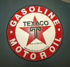 TEXACO MOTOR OIL ROUND DEALER'S PLAQUE w STAR Cast Iron Wall Mount 8