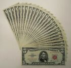 Random 1963 500 Red Seal United States Legal Tender Notes in the XF Range