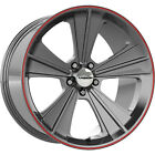 20x9 Gray Red Vision Missile V327 Wheels 5x115 +13 Lifted Fits Suzuki XL 7