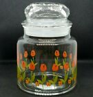 RARE Anchor Hocking vintage apothecary jar with lid tulips red orange flowers