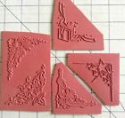 5 CORNER Unmounted Rubber Stamps Gift Stars Floral