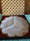 Vintage Anchor Hocking Milk Glass Relish Serving Plate With Gold Trim