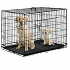 Black 48 2 Door Pet Cage Folding Dog w Divider Cat Crate Cage Kennel w Tray DC