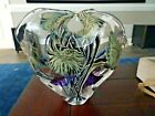 Signed David LOTTON Glass Organic Floral Sculpture Double Vase Heart Chamber