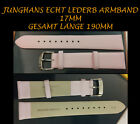 Real Leather Watchband Junghans Max Bill Pink Smooth Steel Buckle 0 21/32in