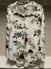 NWT LuLaRoe Size Large Valentina Button Up Shirt Floral Flowers White Green