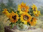 ZWPT1048 charming sunflowers flowers handmade paint oil painting art on Canvas
