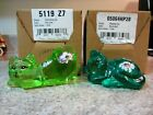 Lot of 2 new Fenton Glass Handpainted Cats Robins Egg Blue and Key Lime Green