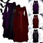 Women Halloween Gothic Witch Victorian Renaissance Medieval Maxi Dress Costume
