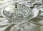 Vintage Round Clear Glass  Candy Dish With Lid