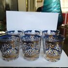 6 Vtg Mid Century Georges Briard Style Blue Gold Old Fashioned Whiskey Glasses