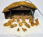 1950s Fontanini Nativity Set Depose Italy Spider Mark W Lighted Crche Stable