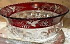 EAPG Ruby Cranberry Flash Stain Grape Etch KINGS CROWN 9 Master Serving Bowl