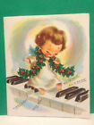 Vintage MCM Christmas Card Cute Barefoot Angel Girl Playing Piano Holly 1950s