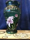 HANDPAINTED FENTON Green ART GLASS DESIGNER SHOWCASE Series Lily VASE Sculpture
