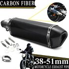 400mm Carbon Fiber Motorcycle Exhaust Muffler Pipe Tube w Silencer Kit 38 51mm