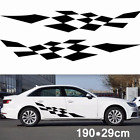 Pair Car Body Stickers Racing Checkered Flag Side Stripe Vinyl Graphic Decals