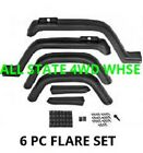Jeep Wrangler YJ 6 Pc Fender Flare Kit With Hardware Fits 1987 95 Factory Style