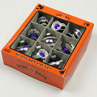 Christopher Radko Shiny Brite Halloween Purple Black Silver Glass Ornaments Set