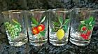 Vintage Juice Glasses with Fruit Theme - Set of 4