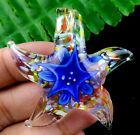 50x12mm blue lampwork glass carved starfish Pendant Bead A68277