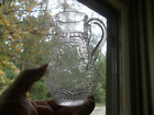 EARLY 4 PC MOLD BLOWN GLASS SMALL 5 1 2 PITCHER APPLIED HANDLE 1860s EMB FLOWERS