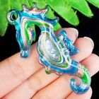 J09118 Blue Green Inlaid Lampwork Glass Seahorse Pendant Bead 68x34x7mm